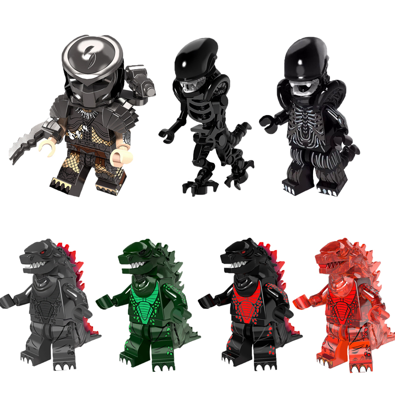 Super Heroes American Science Fiction Monster Movie Godzilla Predator Alien Dolls Building Blocks Children Christmas Toys Gift building blocks super heroes back to the future doc brown and marty mcfly with skateboard wolverine toys for children gift kf197