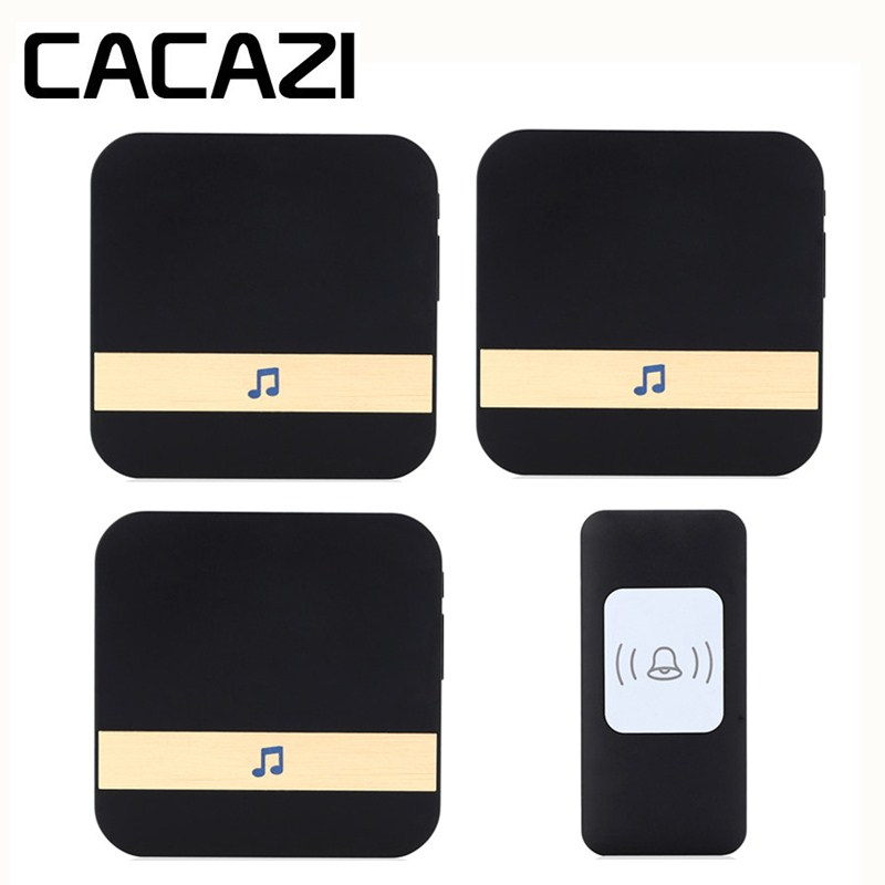CACAZI Smart Wireless Doorbell Waterproof Receiver AC 75-250V US EU Plug Battery Button Household Call Ring 52 Songs 300M Remote cacazi waterproof wireless battery button doorbell smart sensor 300m remoto receiver 75 250v us plug household ringbell 52 songs