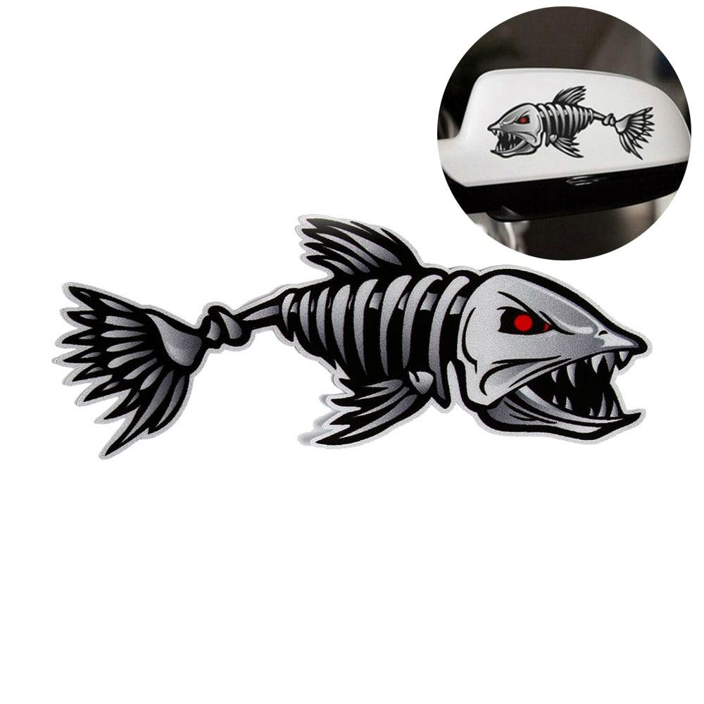 2x Skeleton Fish Vinyl Decals for Marine Boat Fishing Graphics Bone Stickers