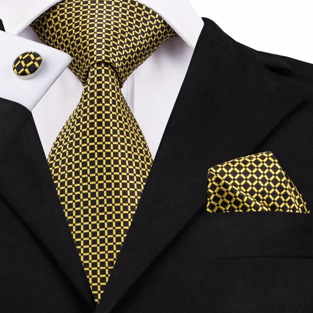 SN-1506 New Arriving Yellow Ties For Men Plaid Pattern Neck Tie Hanky Cufflinks Set Fashion Hi-Tie Designer Neckwear On Sale