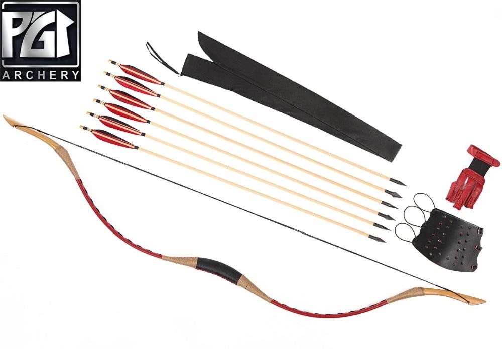 PG1ARCHERY ручной работы красный лук набор для стрельбы из лука 6 деревянный охотничий стрелки пальцев Защита руки колчан изогнутый лук - 2