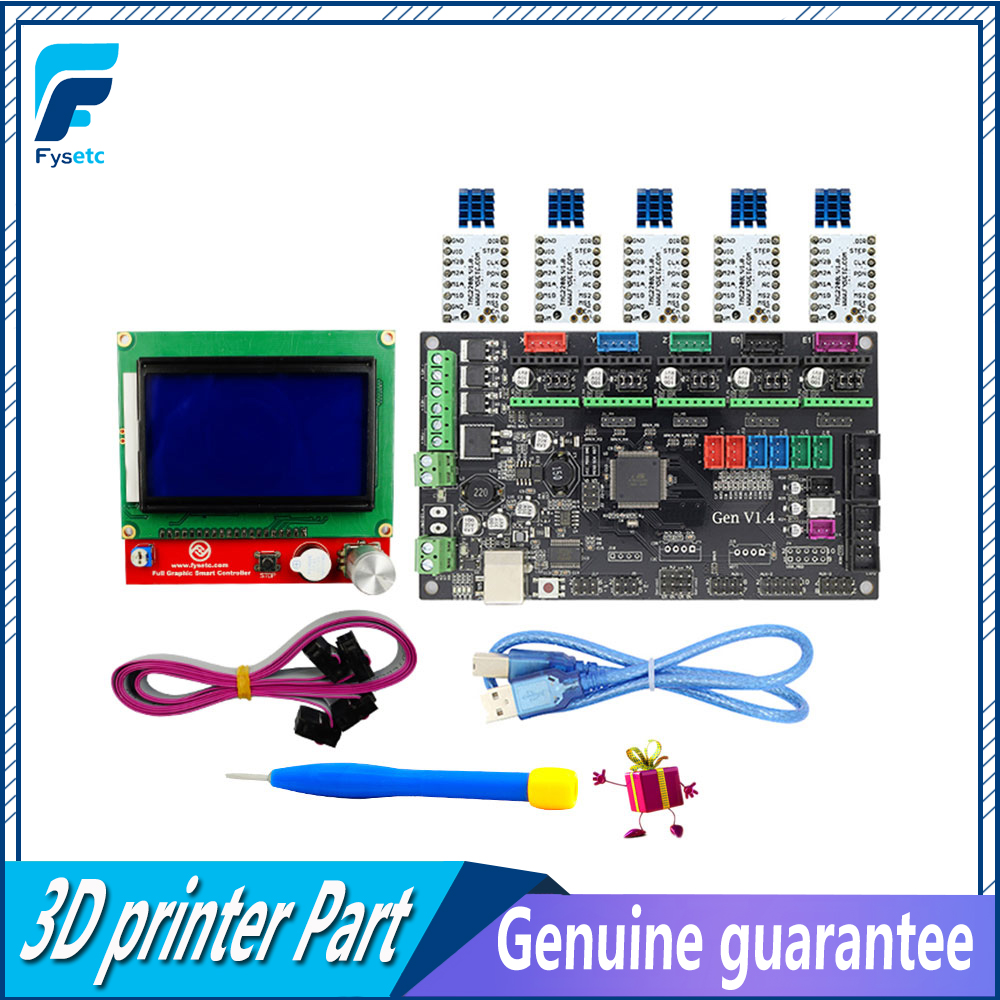 Gen V1.4 3D printer kit with Gen V1.4  board + 5PCS TMC2100 Driver/DRV8825/A4988 Driver+ 12864 Graphic LCD ScreenGen V1.4 3D printer kit with Gen V1.4  board + 5PCS TMC2100 Driver/DRV8825/A4988 Driver+ 12864 Graphic LCD Screen