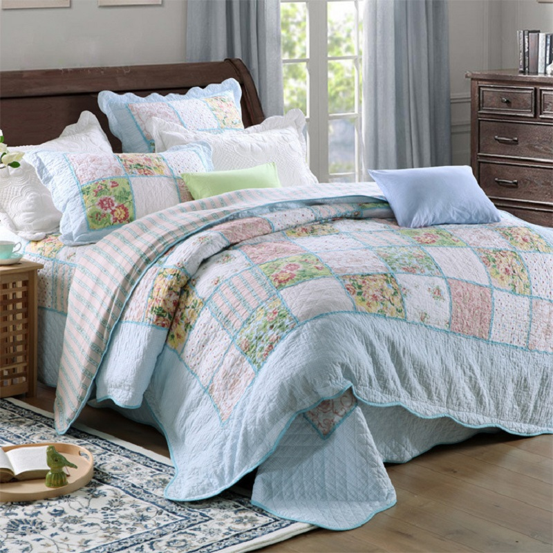 CHAUSUB Washed Cotton Patchwork Quilt Set 4PCS Korean Quilts Bedspread Bed Cover Duvet Cover Shams Quilted Bedding Set Coverlet