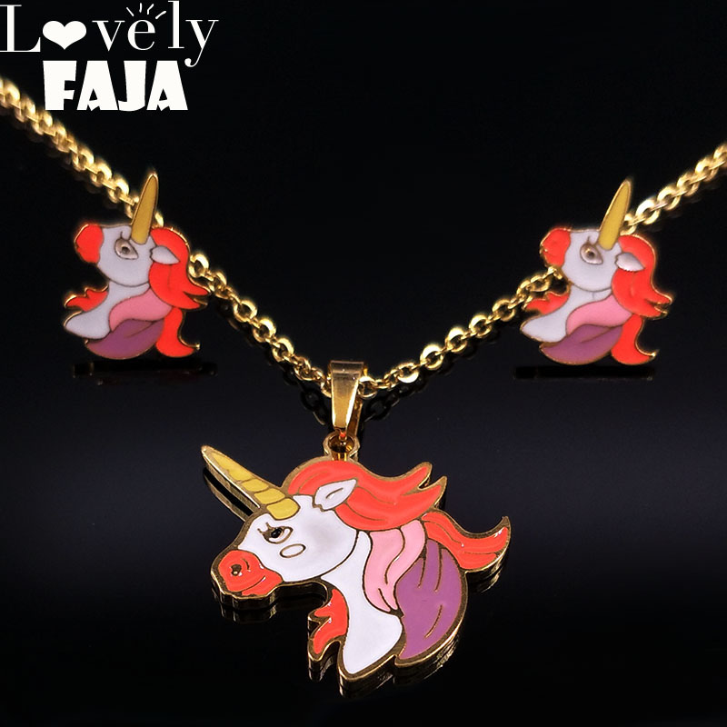 2019 Unicorn Stainless Steel Enamel Earrings Necklace Sets for Women Gold Color Kids Jewellery for Girls aretes de mujer S178490