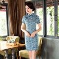 Verão Elegante Mini Cheongsam Qipao Chinês Das Senhoras Elegantes Lençóis de Algodão Vestido novidade Vestidos Tamanho S M L XL XXL XXXL 275834