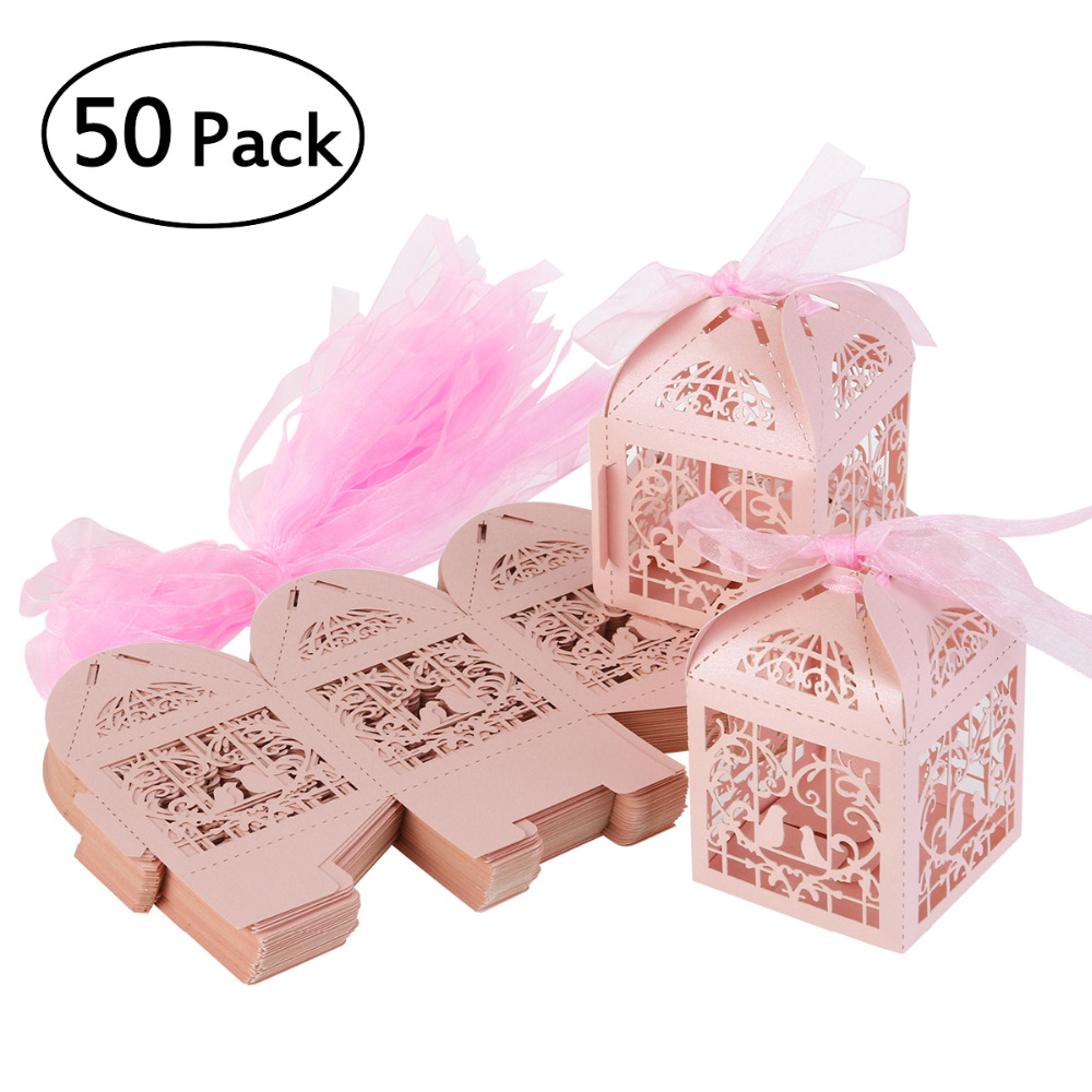 50pcs Couple Design Luxury Lase Cut Wedding Sweets Candy Gift Favour ...