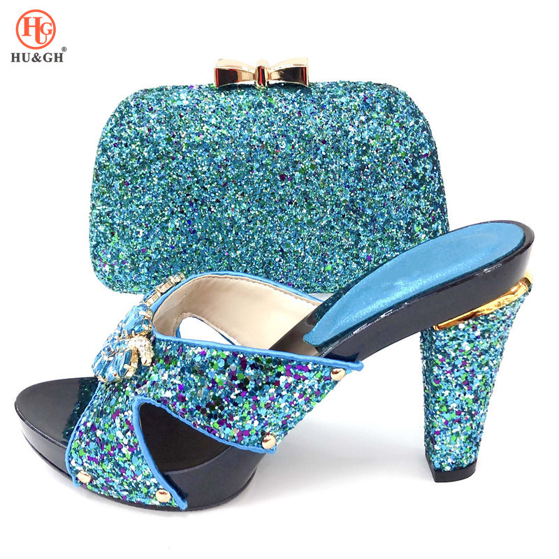 2019 New Nigerian Party Black Shoe and Bag Sets Italian Shoes and Bag Set for party African Matching Shoes and Bags For Wedding