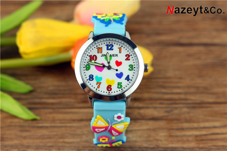 2019 Children's Cartoon Luminous Pointer 3D Cartoon Quartz Watch Boys And Girls Color Heart Pattern Pupil Jelly Silicone Table