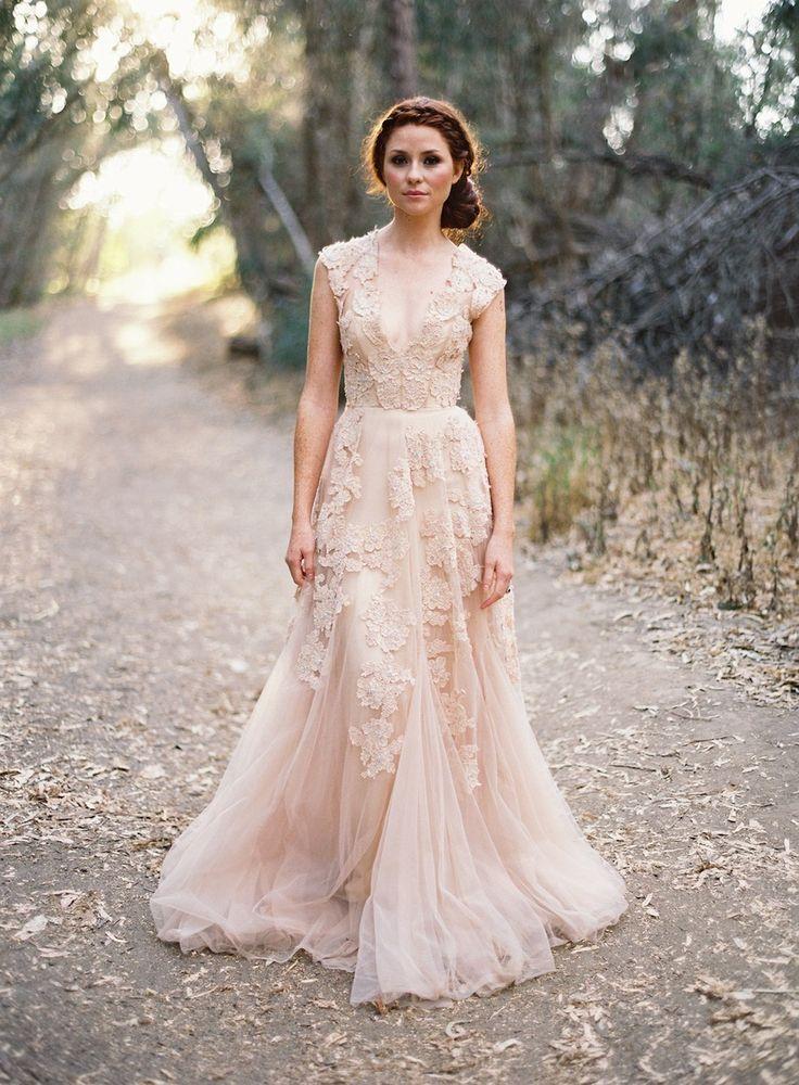2015 Vintage Wedding Dresses Lace Cap Sleeve V Neck A Line Champagne ...