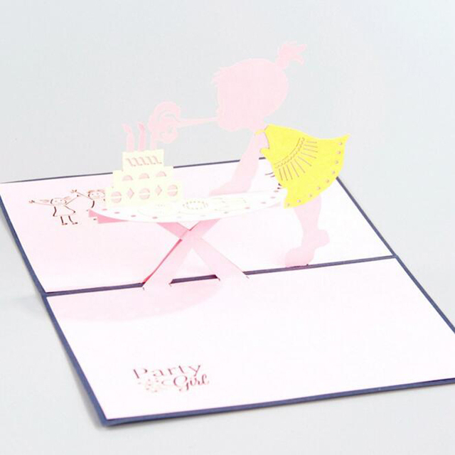 10 Piecelotdiy Baby Girl Happy Birthday 3d Handmade Greeting Card