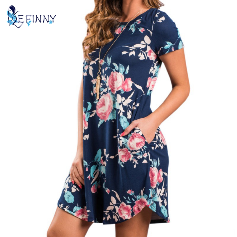 Verano cuello redondo mujeres Mini Vestido estampado Floral vestidos de manga corta Vestido de fiesta