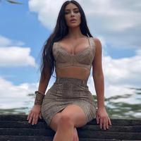 Deer Lady Vestido Bodycon 2019 Dress Set Summer Kim Kardashian 2 Piece Bodycon Set Sexy Mini Bodycon Party Dress Night Club