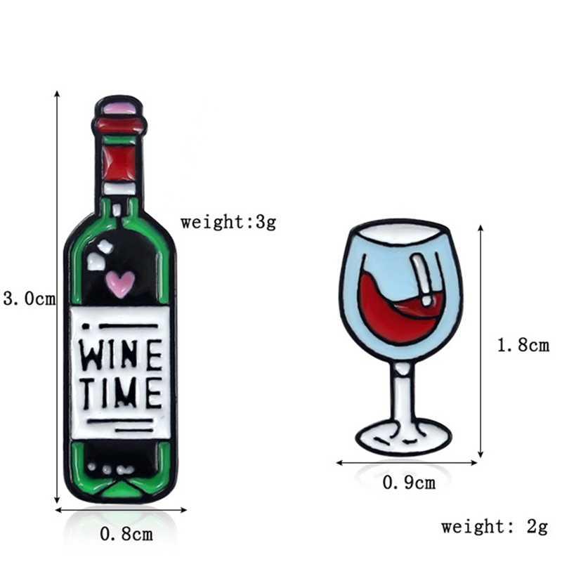 Винная эмалированная булавка, бокал для вина и броши в виде бутылки, крошечные металлические броши для вина, значок, подарок для мужчин и женщин