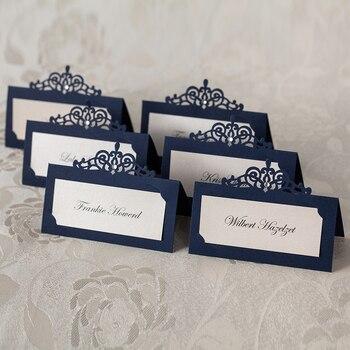24 szt. Granatowa laserowo wycinana nazwa karteczka z miejscem dekoracje ślubne dekoracja stołu na przyjęcie elegancka perłowa etykieta na stół Centerpieces Supplies