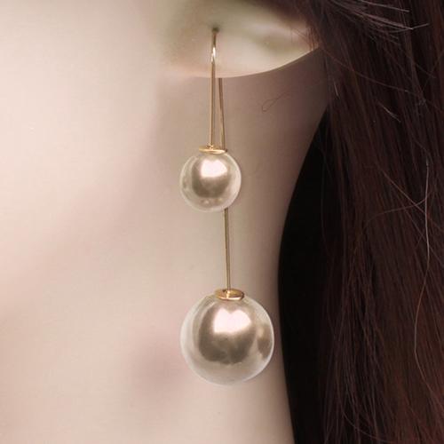 U Shaped Double Sided Pendientes Mujer Faux Pearl Ball Drop Earring Dangle Earrings for Women Bijou Party Jewelry Brincos 2018