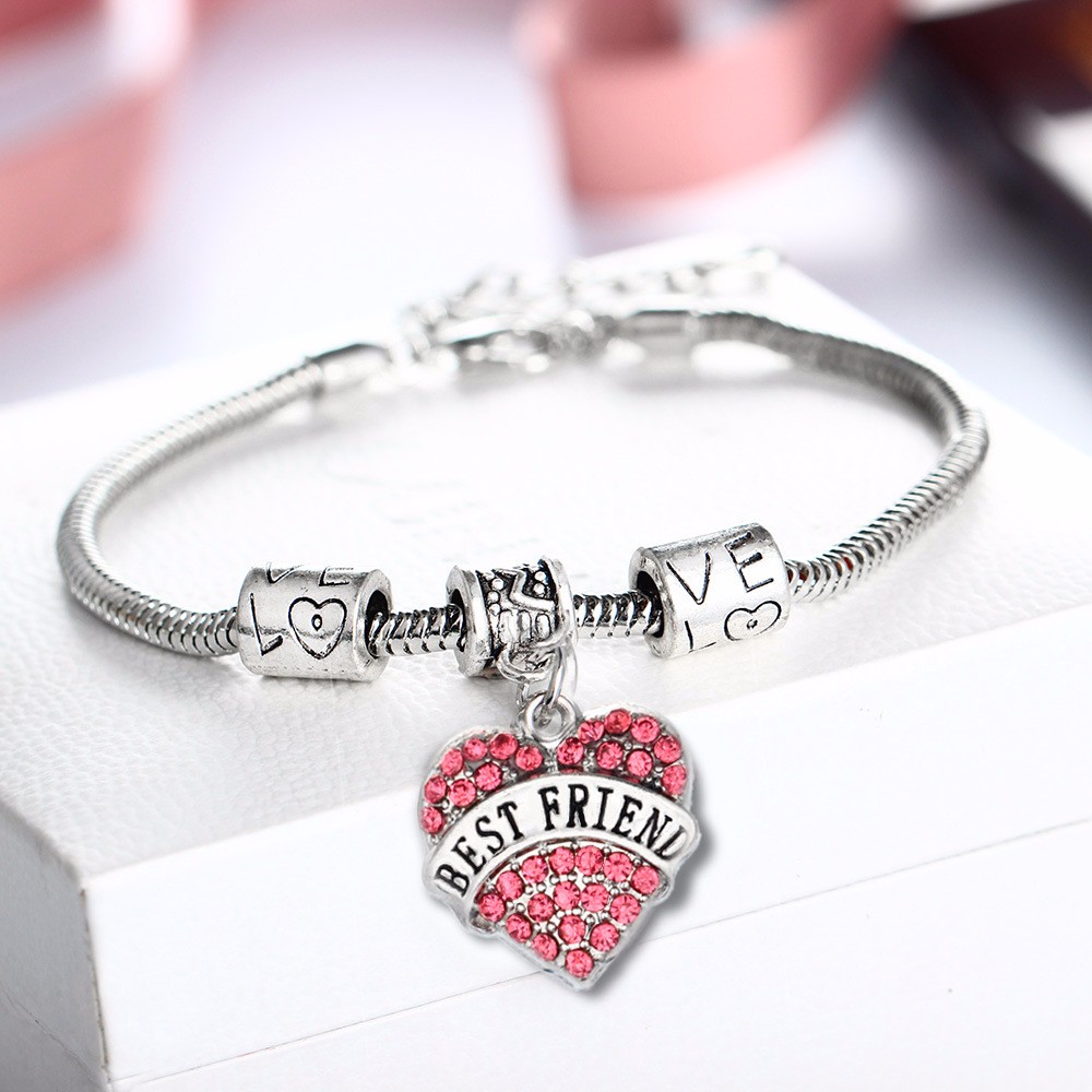 HOT 925 silver for women fashion jewelry beads Crystal from Austrian Charm Bracelet Heart Perfect Gift For Family Members