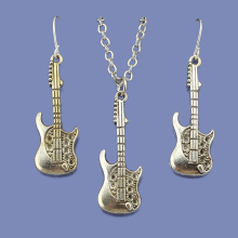 Fashion Vintage Silver Tone Guitar Women Jewelry Set Earring Pendant Short Necklace 18″  Free Shipping Wholesale Lot DY68