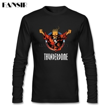 Homens T shirt O pescoço de Algodão de Manga Longa Thunderdome Música de Alta Qualidade T Shirt Para Homens