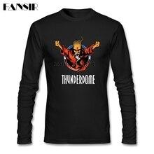 T Shirt da uomo O Collo Manica Lunga di Cotone Thunderdome di Musica di Alta Qualità T Shirt Per Gli Uomini
