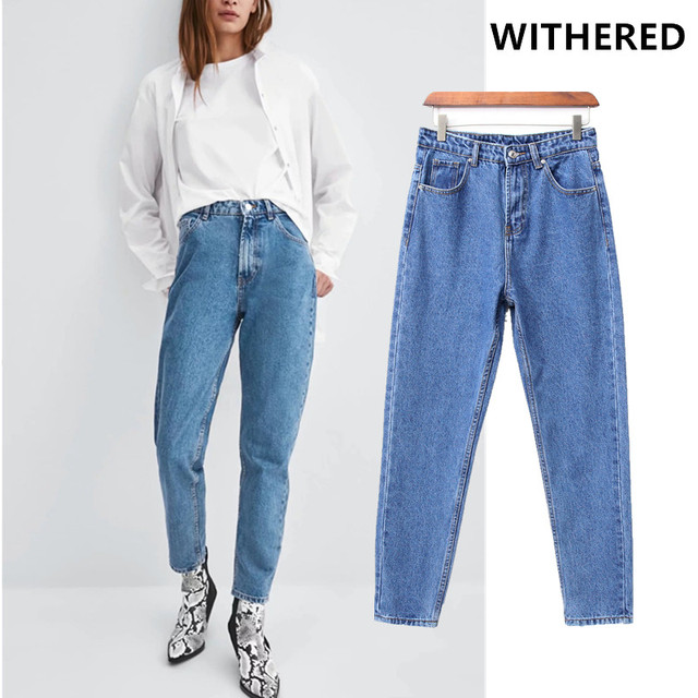 490dc593ce Withered 2019 jeans woman high street vintage sky blue boyfriend denim pants  harem jeans momo jeans high waist jeans plus size