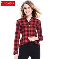 Women Shirt Blouses Plus Size 2016 Hot New Spring Flannel Cotton Long Sleeve Plaid Shirt Casual