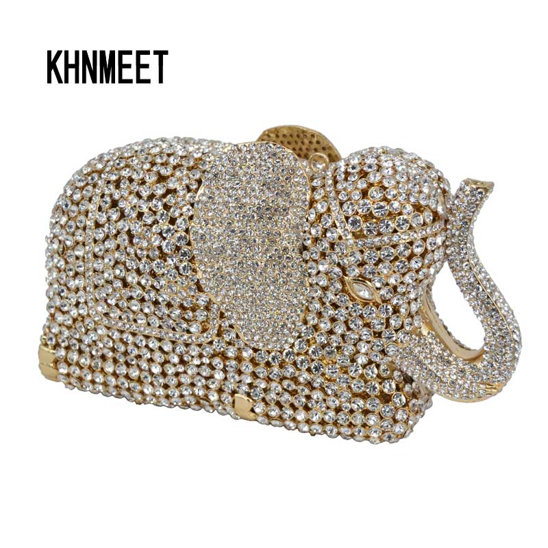 Fashion Newest Luxury Crystal Diamond Elephant Evening Bag Deluxe Indian Rhinestones Metal Zinc Alloy Bridal Party