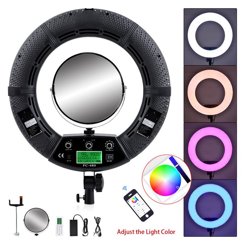 Yidoblo Black FC 480 RGB LED Ring Light LED Video Makeup Lamp Photography Movie film Studio