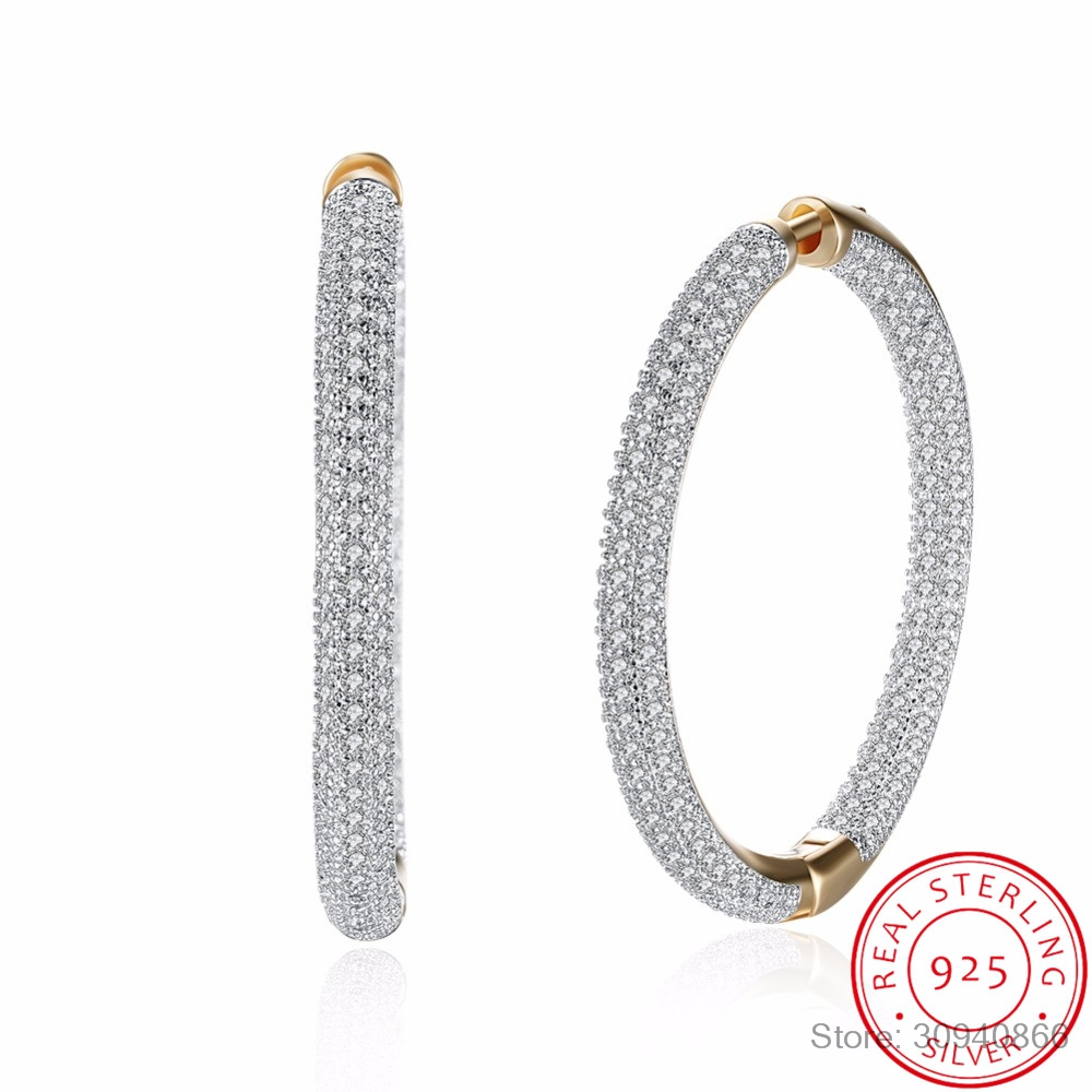 Big Round Hoop Earrings Paved AAA Zirconia For Women Jewelry Brincos Unique Clear Rhinestone 925 sterling silver fine Jewelry