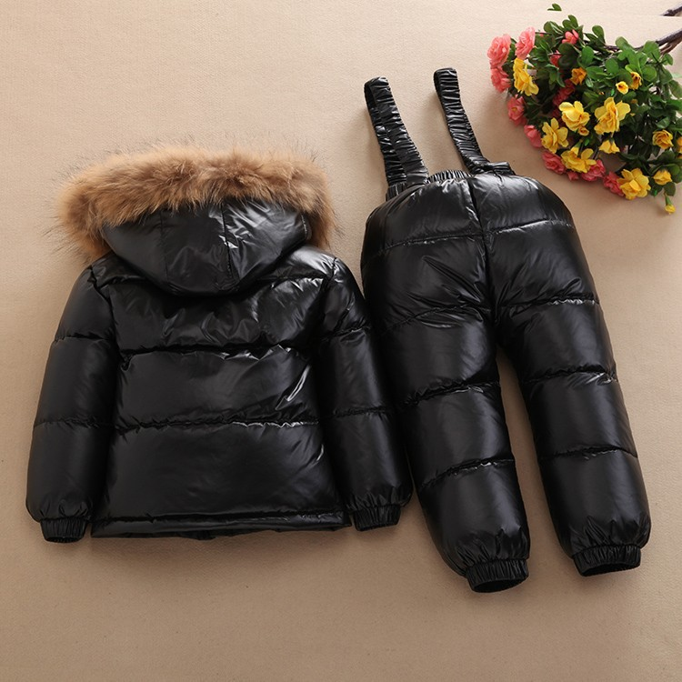 New 2017 Winter Child Down Coat Set Top Quality Children Down Bib Pants Set Free Shipping Child Winter Outenwear Thickening winter down top jacke