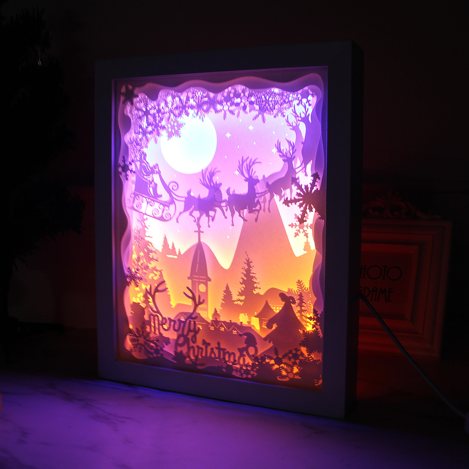 Merry Christmas 3D Shadow Box Paper Carving Papercut LED