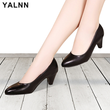 YALNN Big Size Women High Heels Pumps Daily Shoes 3/5/7CM Heels White Black Thin Heels Pointed Toe Slip on Women shoes