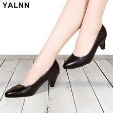 YALNN/женские туфли лодочки на высоком каблуке, большие размеры, повседневная обувь, 3/5/7 см, белые и черные туфли на тонком каблуке с острым носком, женская обувь без шнуровки