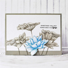 YaMinSanNiO Lotus Flowers Dies Clear Stamps and Cutting  Scrapbooking Stamping Cuts Paper Cards Craft New 2019