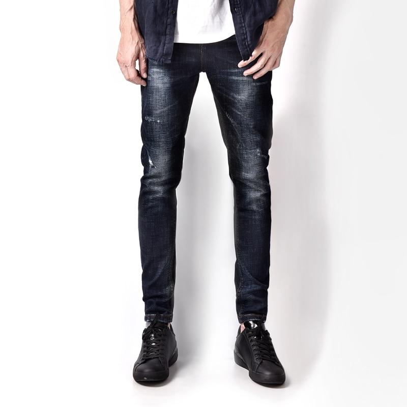 28-38 Dark Blue Denim Overalls Jeans Men High Grade Mid Stripe Distressed Brand Men`s Stretch Jeans Masculino A3156 napapijri guji check dark blue