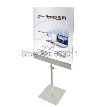 US $59 84 12% OFF|Stainless metal POP A3 A4 tabletop rack advertising  poster banner label sign holder showing stand-in Frame from Home & Garden  on