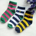 Caramella Polo Kids Age 3-12 Socks Stripe Contrast Color Pure Cotton Comfort Ankle Sock Boy Baby Child Yellow Green White Warm