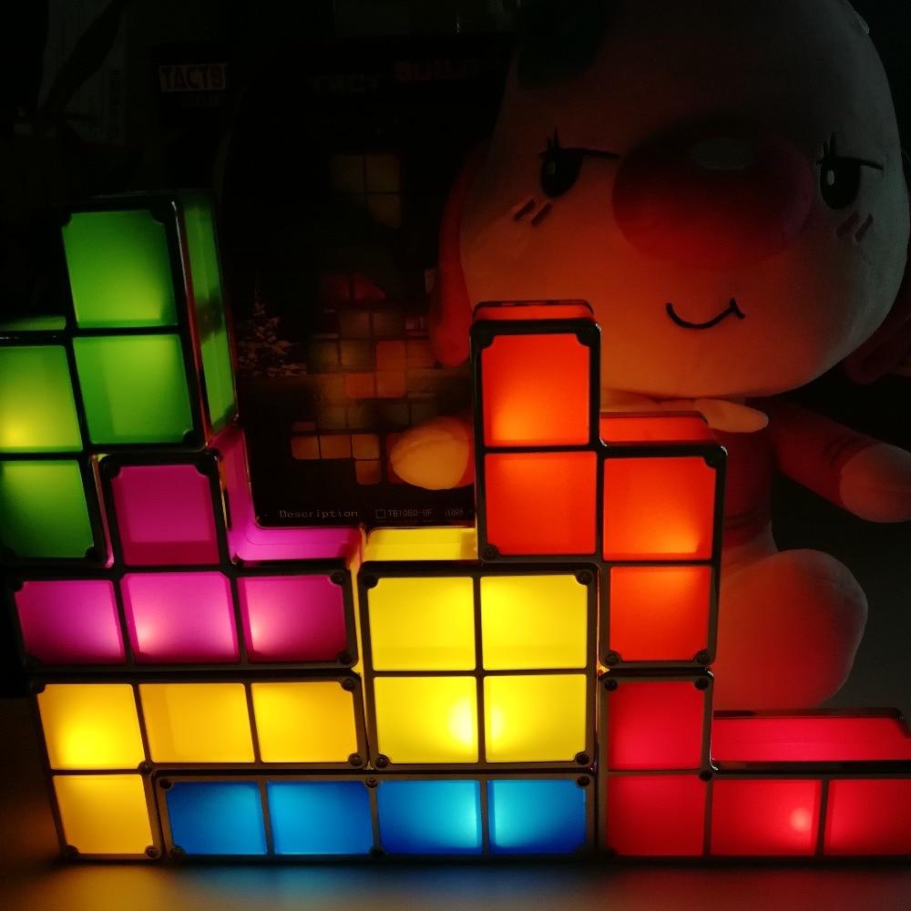 Tetris Puzzle Blocks Cube Light Stackable DIY LED Desk Lamp Constructible Block Retro Game Tower Baby Colorful Brick Toy Magic