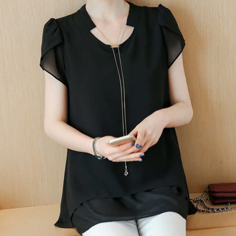 9faf89ef075c3 2018 Blouse Shirt Women s Fashion Summer Clothes For Women Chiffon Black  Blouses Of Large Sizes 4XL