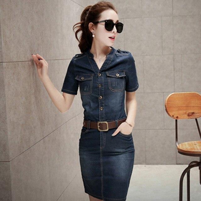 59e0f259d3 Summer Slim Style Sexy Women Denim Dress Casual Plus Size Jeans Women Dress  vestido