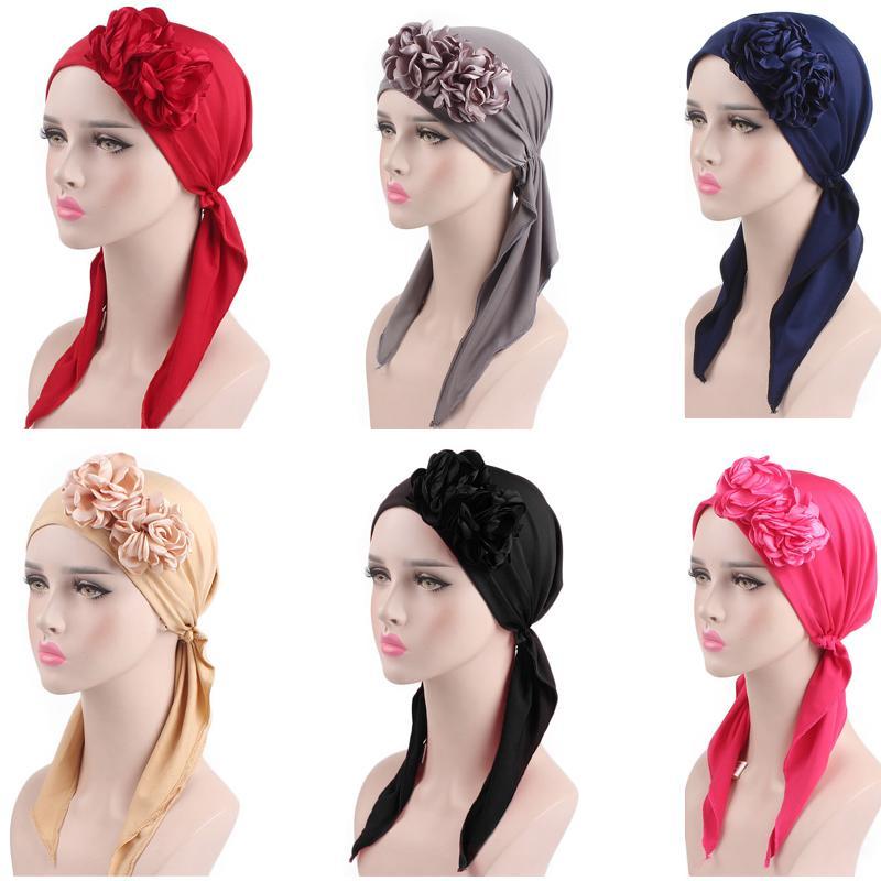 Muslim Women Flower Hats Turban Head Scarf Chemo Cancer Cap Hair Loss Hat Long Tail Bonnet Beanie Wrap Cap Headscarf Headwear