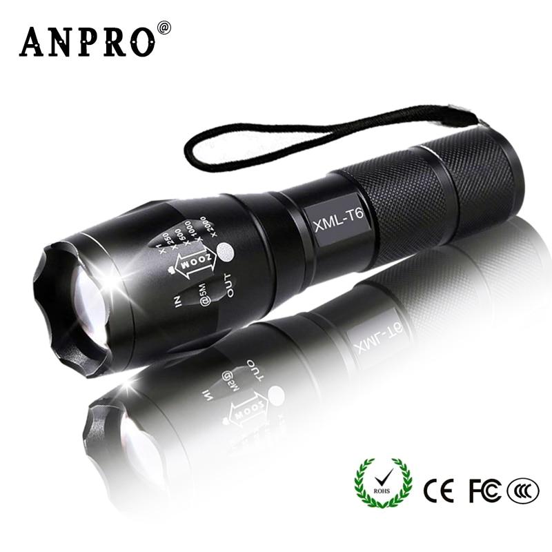 Anpro XML T6 Led Flashlight Q5 Mini Torch Lanterna Tactical Flashlight Zoomable Waterproof Protable Outdoor Camping Bike Light