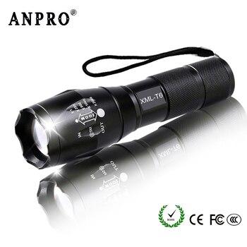 Anpro XML T6 Led Flashlight Q5 Mini Torch Lanterna Tactical Flashlight Zoomable Waterproof Protable Outdoor Camping Bike Light 1