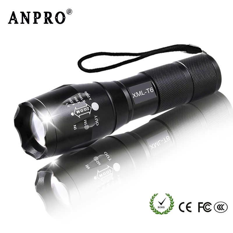 Anpro XML T6 Led Taschenlampe Q5 Mini Taschenlampe Lanterna Taktische Taschenlampe Zoombare Wasserdichte Protable Outdoor Camping Fahrrad Licht