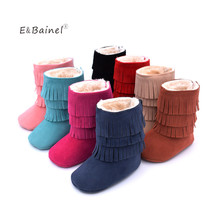 E&Bainel Newborn Baby Girl Princess Fringe Boots Infant Toddler PU Leather Moccasin Soft Moccs Shoes Crib  First Walkers Booty