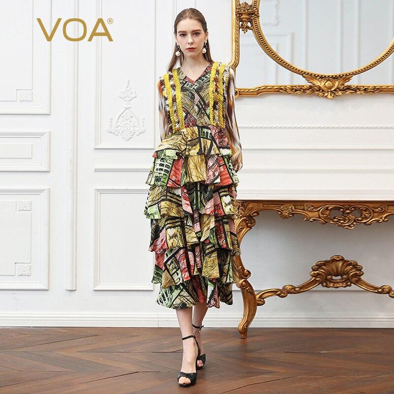 VOA Silk Print V Neck Layered Women Long Dress A352