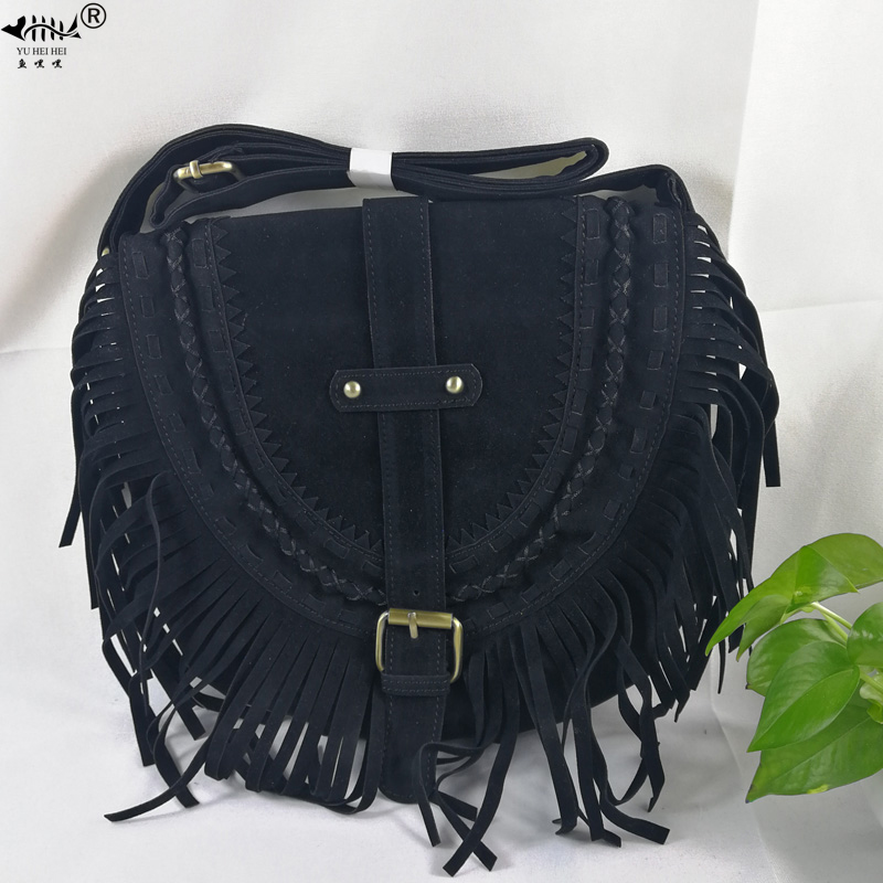NIGEDU Women Tassel Shoulder Bag PU Leather Bohemian Fringed Crossbody Handbag Vintage Messenger Bags
