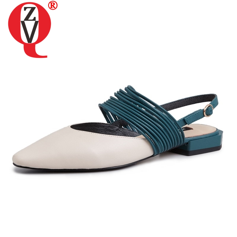 ZVQ shoes woman 2019 spring newest concise casual high quality genuine leather women flats outside buckle
