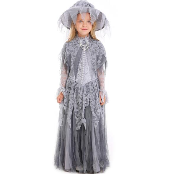 girl Ghost Bride Costume Halloween Adult baby Scary Ghost Bride Cosplay  Uniform Fantasia Fancy Dress long dresses A083