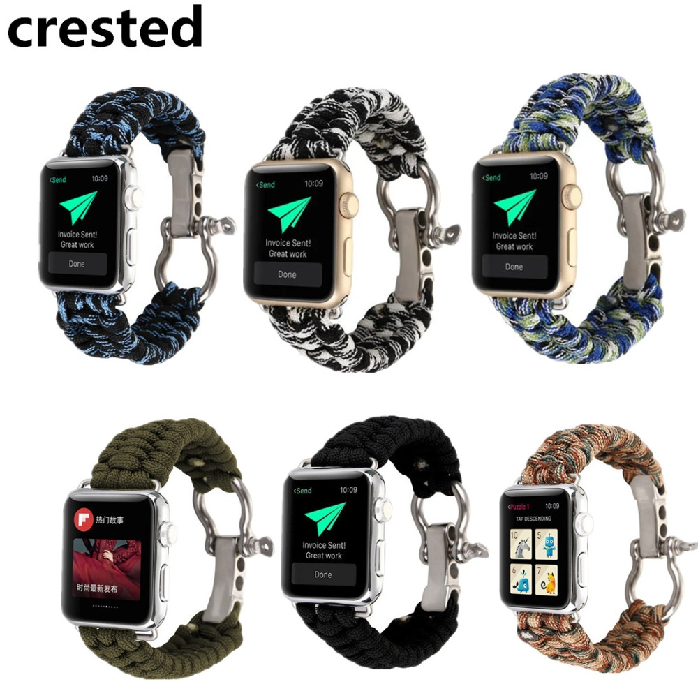 CRESTED Sports Woven Nylon Rope Bracelet For Apple watch band 38mm 42mm iWatch wrist band Strap Watch Band Replacement belt