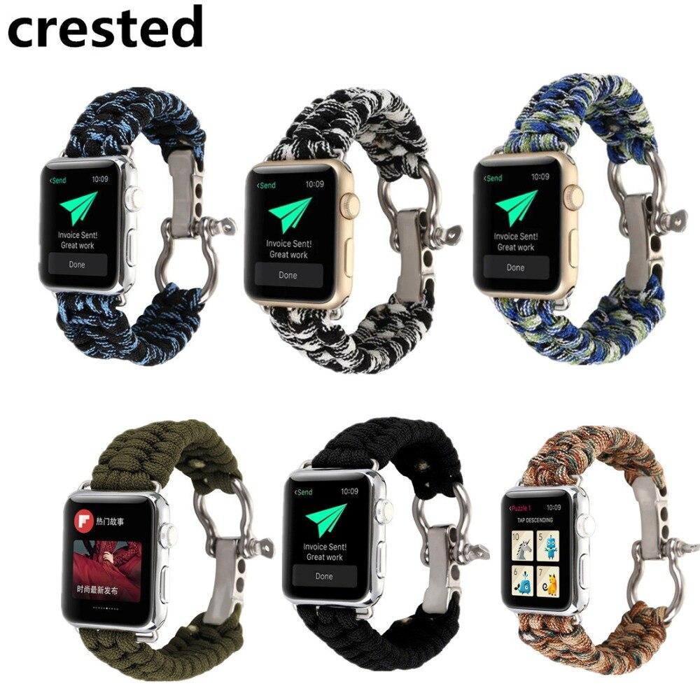 CRESTED Sport Woven Nylon Seil Armband Für Apple uhr band 38mm 42mm iWatch handgelenk band Strap Uhr Band ersatz gürtel